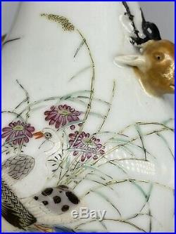 Chinese Qianlong Mark Porcelain Vase 20th Century Decorated Geese Deer Handles