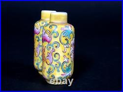 Chinese Qing Lotus Yellow Double Snuff Bottle Mini Vase Qianlong Mark
