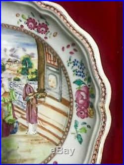 Chinese large export porcelain meat plate in Famille Rose -Qianlong Period