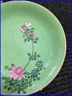 Exquisite Antique Chinese Qianlong Period Green Monochrome Plate Old Asian China