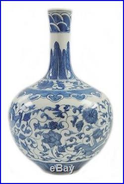 Fine Antique Chinese Blue And White Dragon Flower Vases Porcelain Qianlong Mark