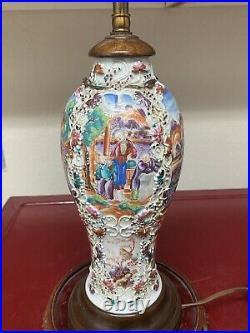 Fine antique Chinese Famille rose mandarin Lamp Vase. Qianlong Period