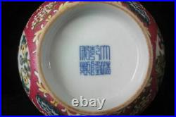 Finest Chinese Antique Enamel Hand Painting Red Porcelain Bowl QianLong Mark