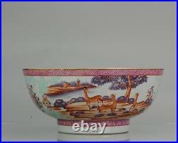 Large Antique Qianlong 18th Mandarin Rose Porcelain Bowl Chinese DEER OX