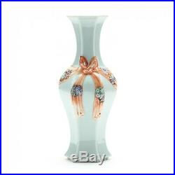 Old Chinese Celadon Ribbon Vase, 19th century or Earlier. Qianlong mark. 13 5/8