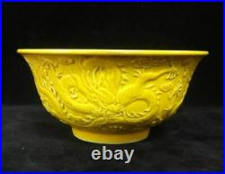 Old Chinese Hand Carving Dragons Yellow Glaze Porcelain Bowl Marked QianLong