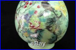 Old Chinese Hand Painting Flowers Green Glaze Porcelain Vase QianLong Marks
