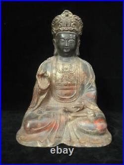 Old Large Chinese Gilt Bronze Bodhisattva Buddha Statue Marked QianLong
