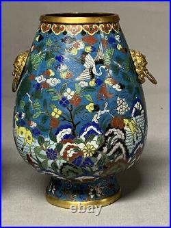 Old PAIR Qing Qianlong Chinese Hu Cloisonne Vases Hundred Deer Gilt Antique