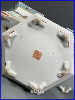 Pair China Chinese Famille Rose Porcelain Planters with Underplates Qianlong Mark