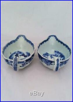 Pair Chinese Porcelain Blue White Sauce Boats Boy and Buffalo Qianlong Qing 1780