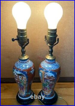 Pair of Antique Chinese export mandarin vase Qianlong 18th c as lamps