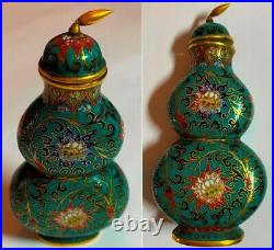 Qianlong Mark & Period 18th Century Chinese Cloisonné double Gourd Snuff Bottle