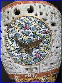 Qing dynasty Qianlong vase handrawn fishes chinese antique porcelain