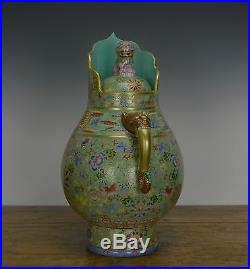 Rare Chinese Qing Qianlong MK Turquoise Tibetan Monk Cap Porcelain Milk Tea Pot