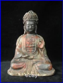Rare Large Chinese Old Gilt Bronze GuanYin Buddha Statue QianLong Marks