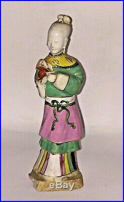 Rare Qianlong Chinese Blanc de Chine Enamelled Porcelain Figurine C 1700+