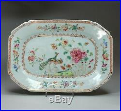 Small Chinese famille rose'double peacock' octagonal platter Qianlong (1736-95)