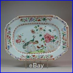 Small Chinese famille rose'double peacock' octagonal platter, Qianlong 1736-95