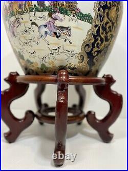 Vintage Chinese Famille Rose Hunt Bowl Qianlong Cobalt Koi Fish Planter Bowl